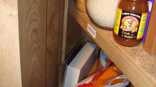 pantry problem or problem pantry, closet, shelving ideas, another one showing the left side with the angled wall