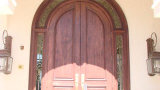 cleaning outside wooden doors prior to refinishing, curb appeal, doors, Mahogany Doors not damaged just faded