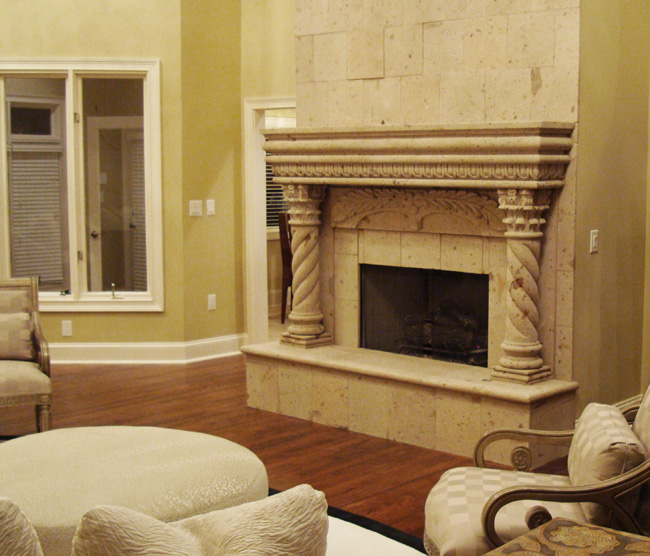 pastor craig oliver s house remodel we designed created and installed this, concrete masonry, Natural Stone Carved Mantel