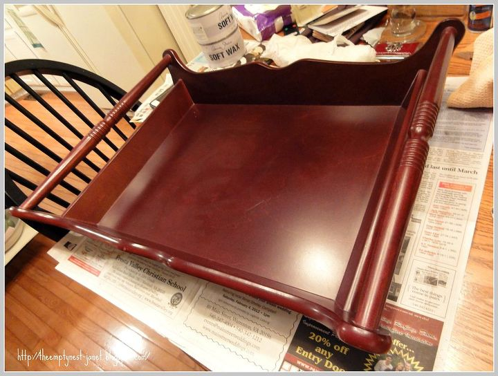 after a custom mix of annie sloan chalk paints and hand wax buff beautiful, home decor, Bombay Co style wood tray nice design but nothing special