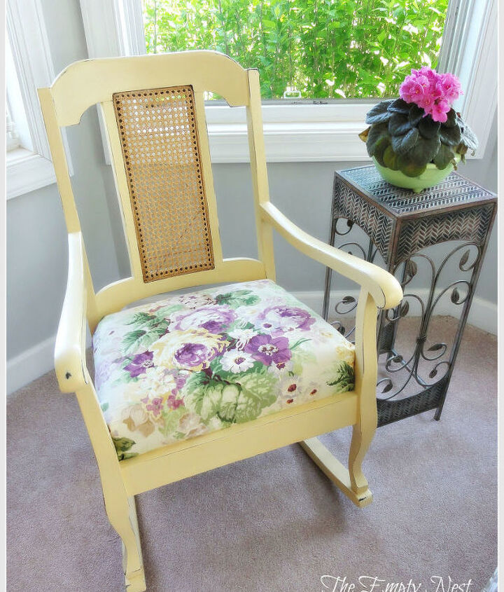 rocker after applying a mix of Arles and Cream with a little distressing and clear wax...sunshine in a can! The fabric is a lovely remnant piece of floral linen.