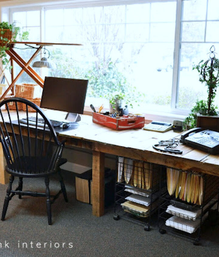 The framework was worked out so the desk had productive space underneath for the chair and rolling files.http://www.funkyjunkinteriors.net/2011/03/pallet-farm-table-desk-part-3-reveal.html