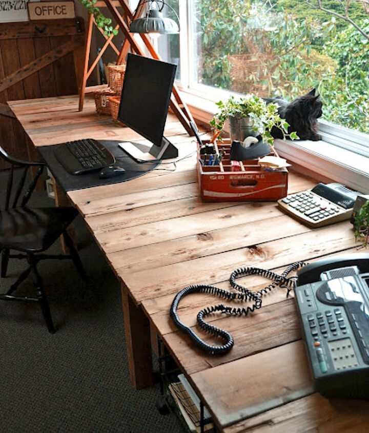 I nearly painted the top at first. I'm glad I didn't. Love the woodsy warm look!http://www.funkyjunkinteriors.net/2011/03/pallet-farm-table-desk-part-3-reveal.html
