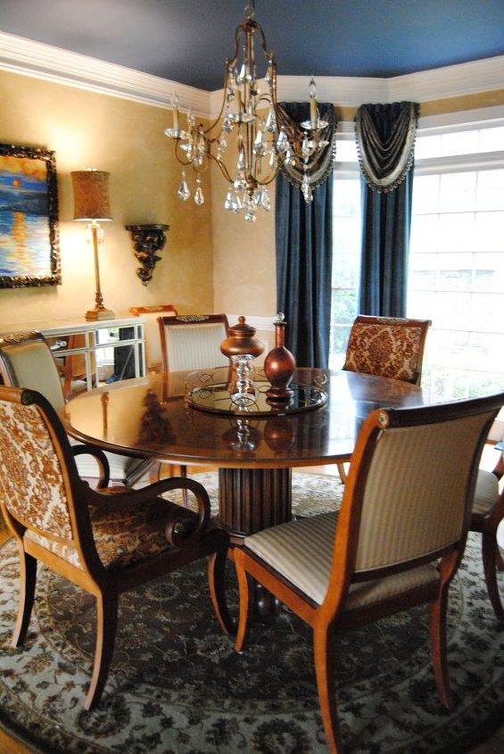 this tired 15 year old dining room needed a facelift even the old toparies were, dining room ideas, home decor
