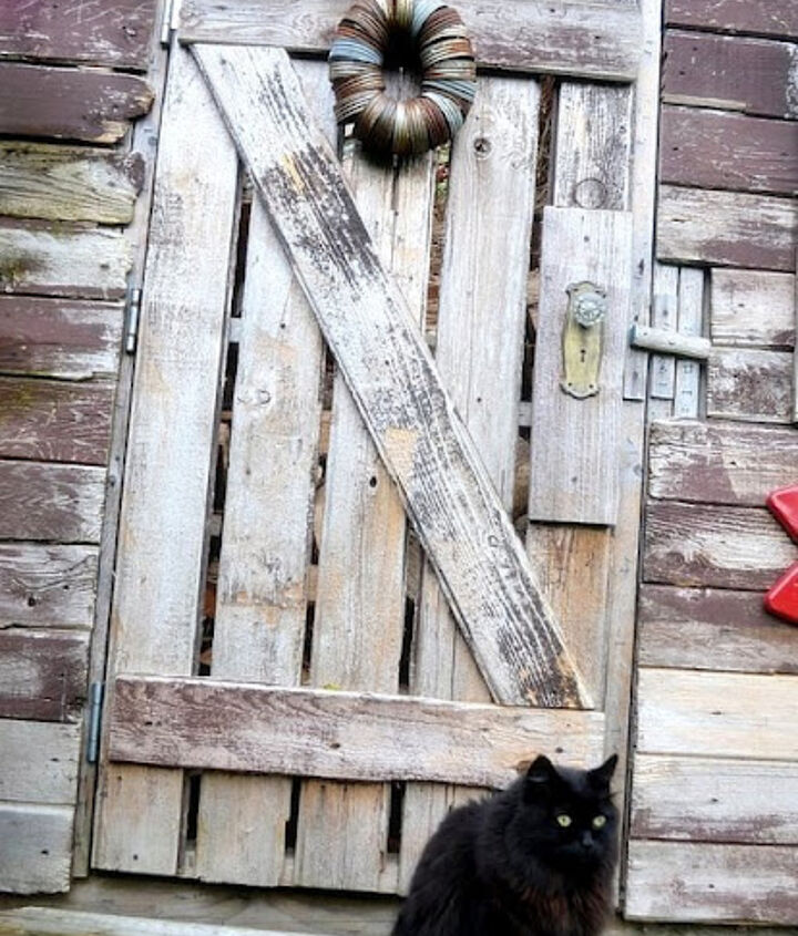 a rustic shed made from reclaimed lumber, doors, outdoor living, repurposing upcycling, Odds and sods were used to create a door The wreath is made from canning jar lids