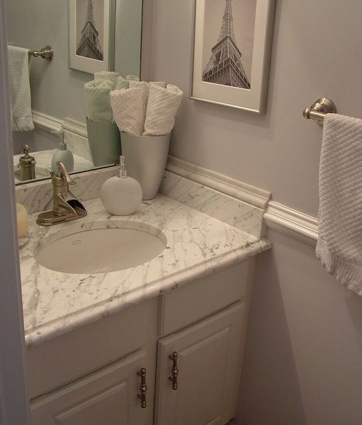 my favorite transformation from builder blah to remodel revamp on a budget, bathroom ideas, home decor, AFTER Remodel Renaissance ON A BUDGET