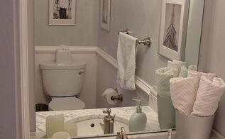 my favorite transformation from builder blah to remodel revamp on a budget, bathroom ideas, home decor, AFTER Can you see the gloss diamonds over the flat grey paint on the walls