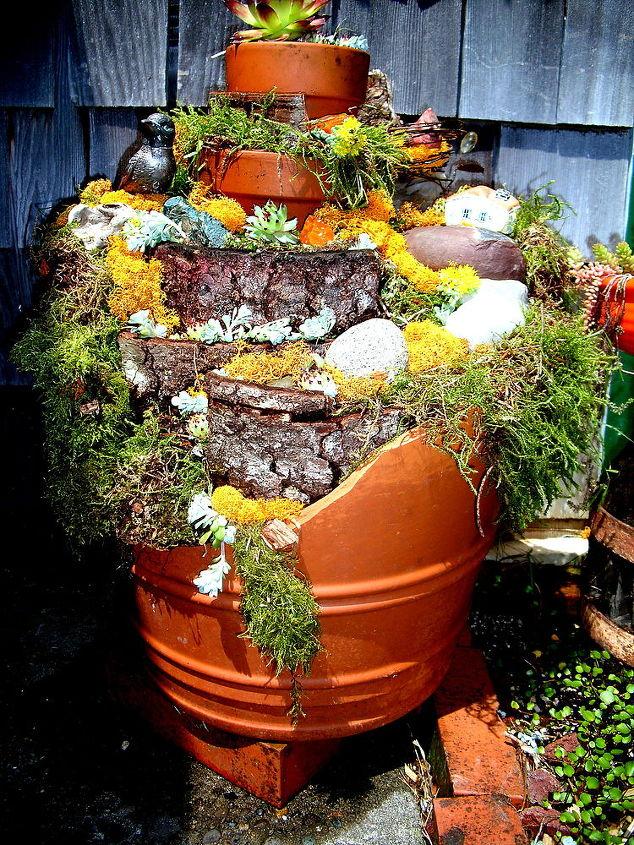 recycling broken terra cotta pots, gardening