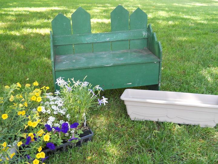 old bench turned planter box, flowers, gardening, repurposing upcycling