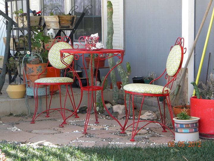 This table and chairs were my MIL.  We got them when she passed.  I painted them and gave them new seat cushions...one of my favorite things :)