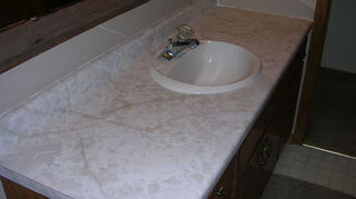 q want to paint my kitchen countertops to look like stone travertine or limestone any, countertops, kitchen design, painting, Bathroom Counter top BEFORE