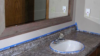 q want to paint my kitchen countertops to look like stone travertine or limestone any, countertops, kitchen design, painting, Bathroom Counter top AFTER using Giani Granite PAINT