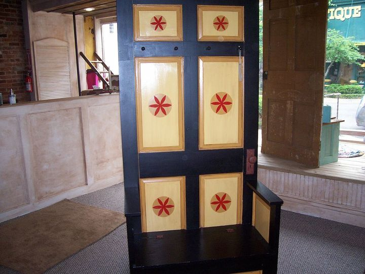 hall tree from reclaimed doors, painting, repurposing upcycling, This Hall Tree is from 2 REclaimed doors Bench lifts to reveal hidden storage Handpainted black gold and red Wooden knobs for hanging
