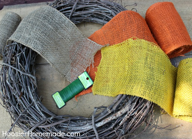 Start with Burlap ribbon and wire