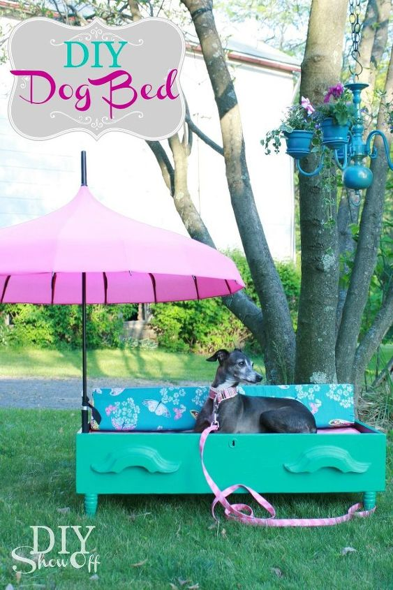 DIY dresser drawer dog bed: add some feet and