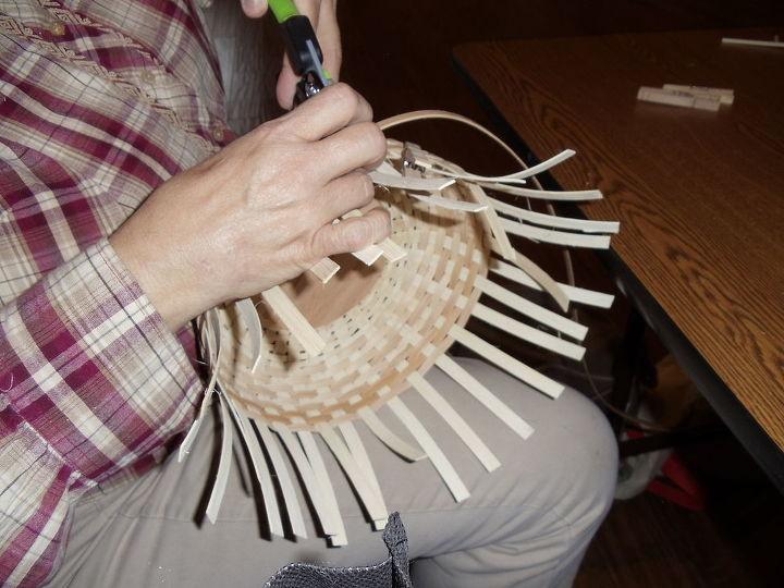 Julie working on her basket