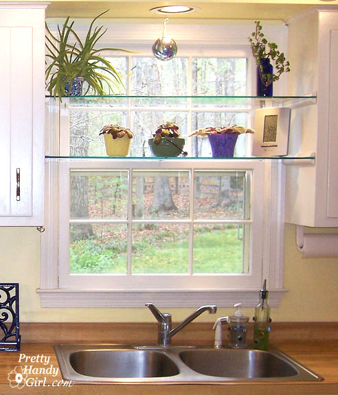 Diy Gl Shelves In Front Of Kitchen Window Shelving Ideas A Little Sunny Spot