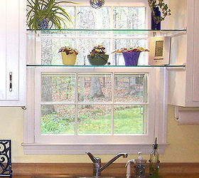 Diy Glass Shelves In Front Of Kitchen Window, Shelving Ideas, A Little  Sunny Spot
