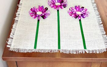 no sew loopy ribbon flower burlap tablerunner, crafts, Attach the stems starting at the fringe using fabric glue for a smooth fit and next glue the blooms for a finish look