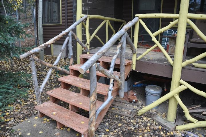 new porch stairs with aspen log railings, stairs, New stairs and rails to match the old