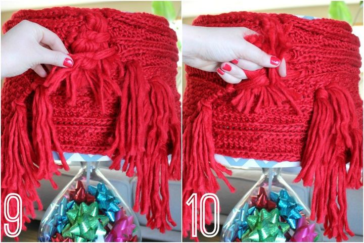 To make it happen, I simply wrapped the scarf around the shade, pulled the tassels through and knotted them. (Detailed instructions and step-by-step pics in my blog post.)