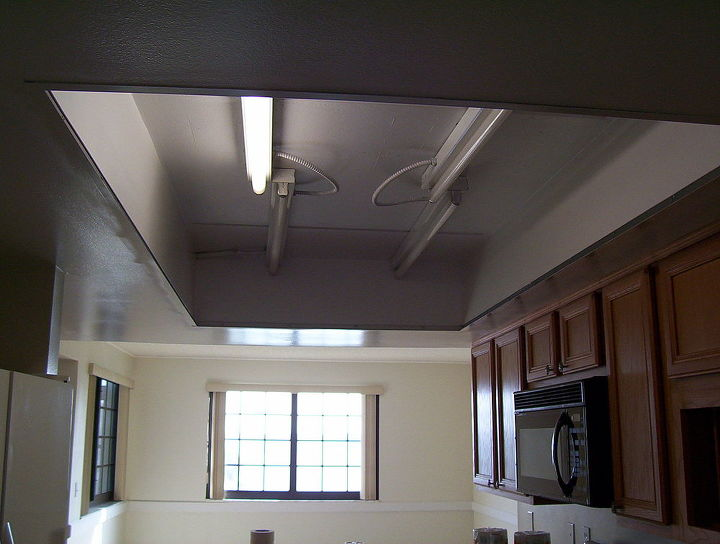 Lighted grid drop ceiling removed:
