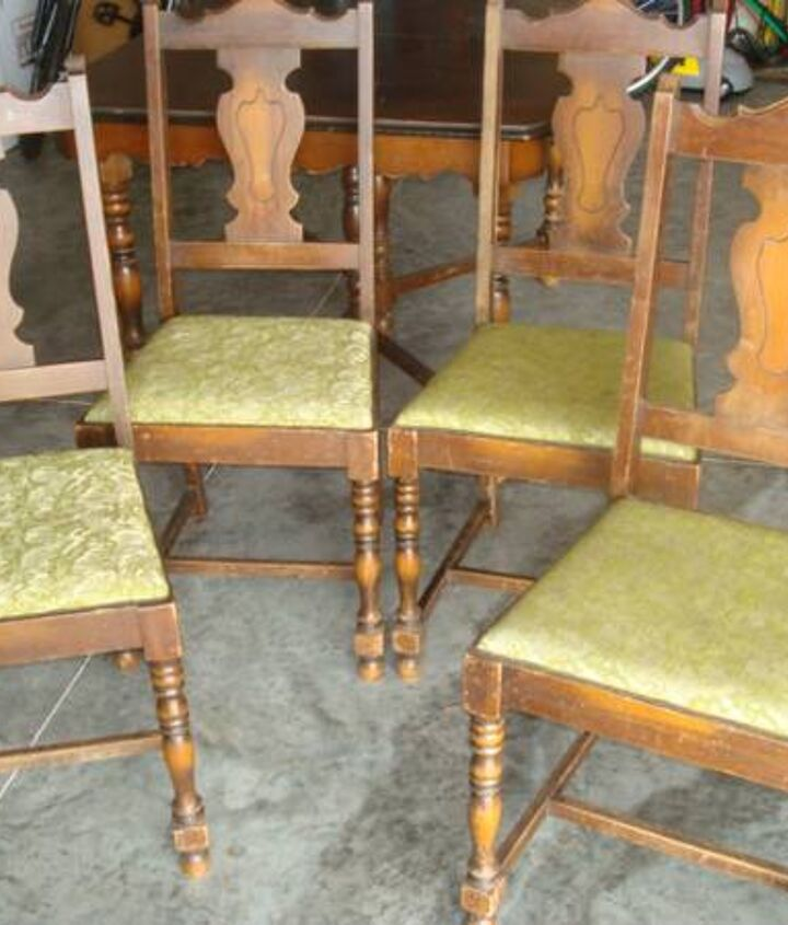 4 very sturdy chairs but will need new fabric.