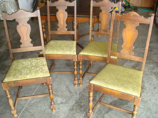 something fun, painted furniture, 4 very sturdy chairs but will need new fabric