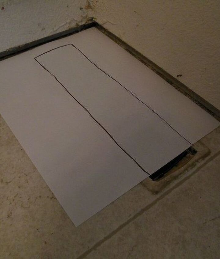 grouted vinyl tile, bathroom ideas, flooring, tile flooring, tiling, I placed a sheet of paper on the floor lining up the edges with where my tile will sit and then used a permanent marker to make the template