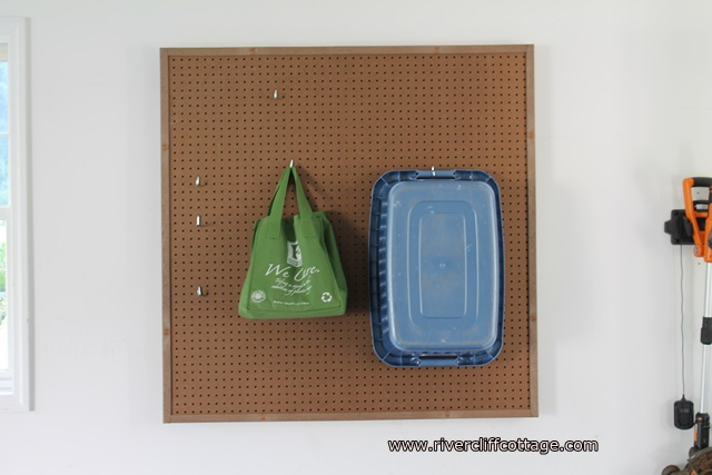 """Future """"Recycling"""" Pegboard.  Can't wait to work further on this!!"""