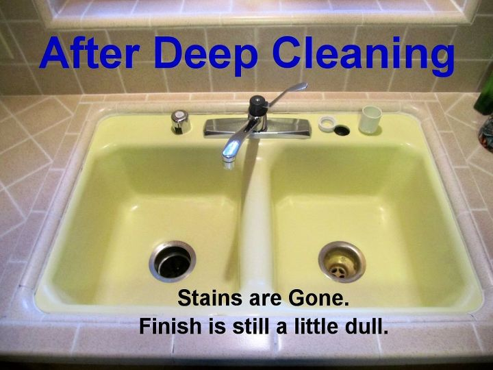 After Deep Cleaning: 1. Scrubbed stains with Barkeeper's Best Friend. 2. Performed a bleach soak on the remaining stains.