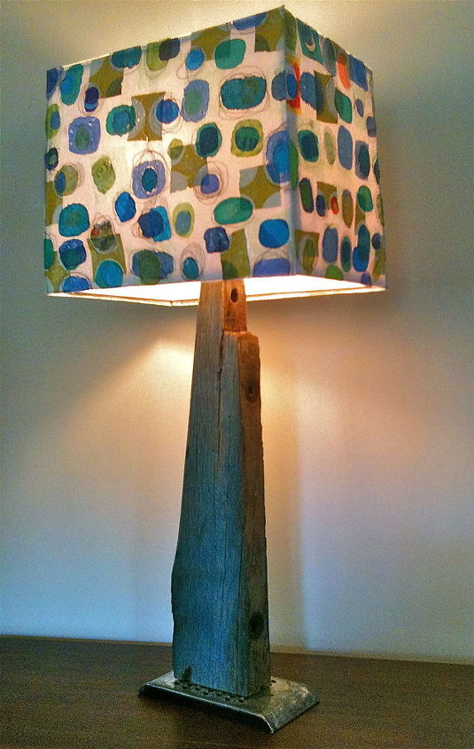 """This home-made lamp stands 32""""tall.  It has a fraternal twin."""