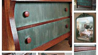 q tell me more about chalk paint, painted furniture, Empire style tiger oak dresser transformed using chalk paint
