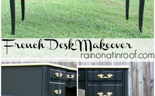 black and gold french desk makeover, painted furniture