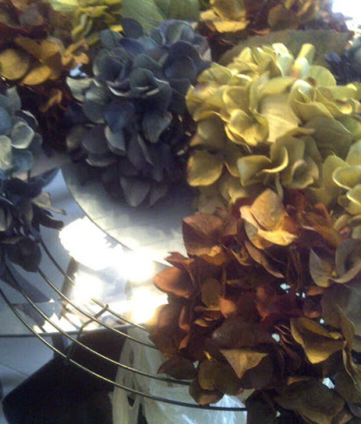Used a wire wreath form and an assortment of faux hydrangeas