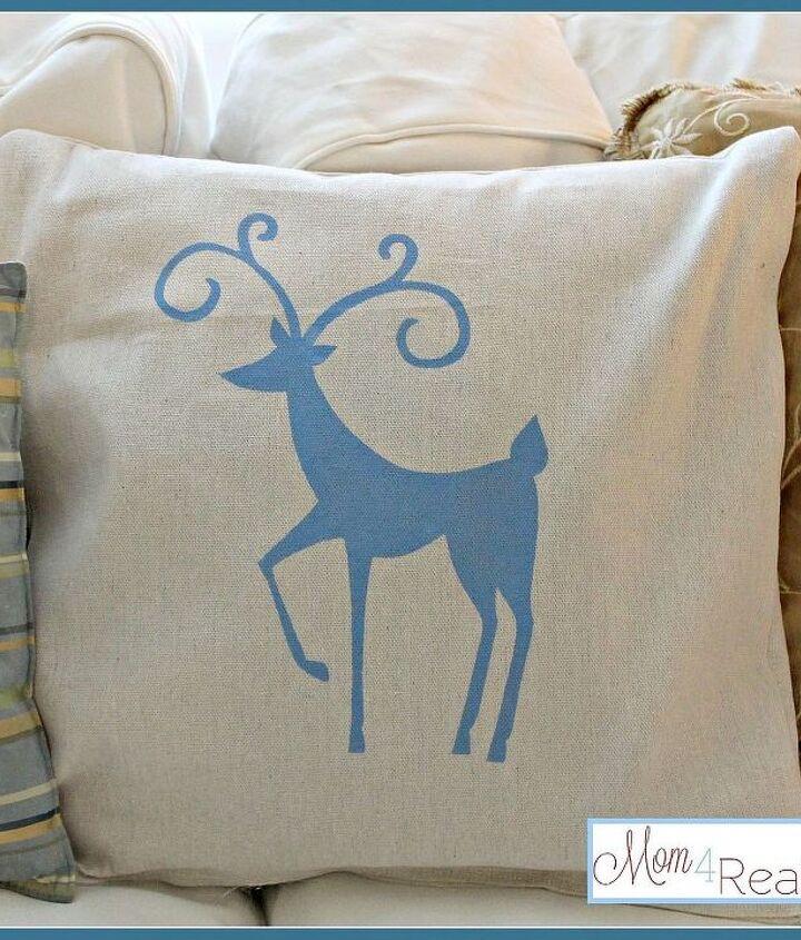 Reindeer Silhouette Dropcloth Pillow
