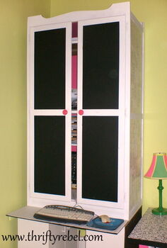 wardrobe makeover into computer armoire, chalk paint, craft rooms, home decor, painted furniture, Wardrobe Outside After