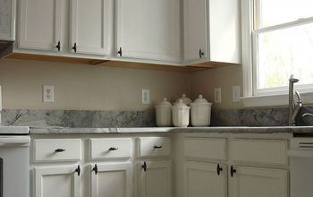 old oak cabinets painted white and distressed, diy, kitchen cabinets, kitchen design, painting, white distressed cabinetry make the kitchen look brand new