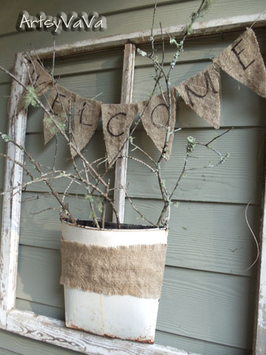 take an old window and make a welcoming entrance for your porch, crafts, flowers, The Welcome Window