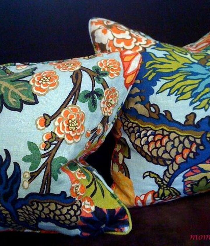 Very expensive fabric!  But these Chiang Mai Dragon pillows in aquamarine were a deal because I purchased them secondhand.
