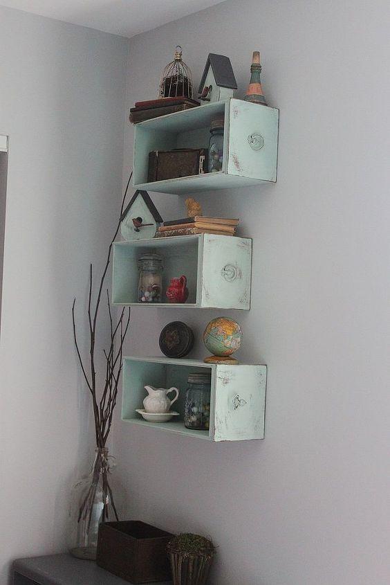 drawers turned shelves, repurposing upcycling, shelving ideas