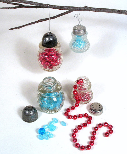 crystal ornaments made from vintage salt shakers, christmas decorations, repurposing upcycling, seasonal holiday decor, Fill them with light plastic beads inexpensive Mardi Gras strands or even little fabric swatches to pop the color