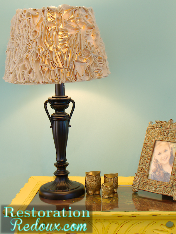Ruffled lamp shade made from a drop cloth hometalk ruffled lamp shade made from a drop cloth crafts lighting after aloadofball Choice Image