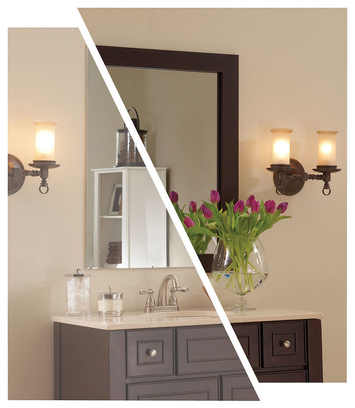 MirrorMate's Cherokee frame added to a plate glass mirror. Photo styled by design blogger Emily A Clark.