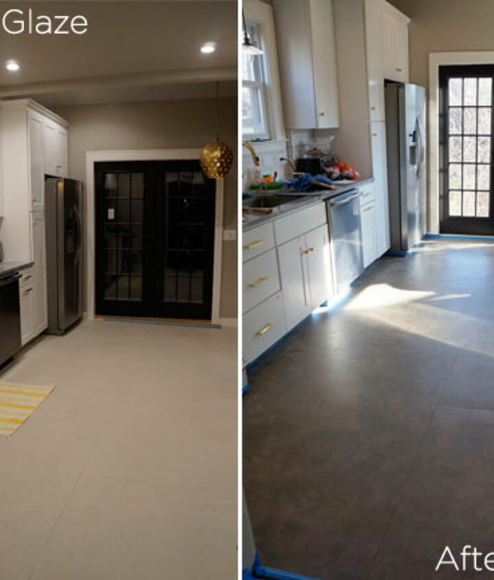 Before/After of kitchen floor glazed
