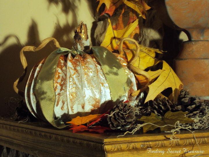 fall pumpkins from dryer vents, repurposing upcycling, seasonal holiday decor