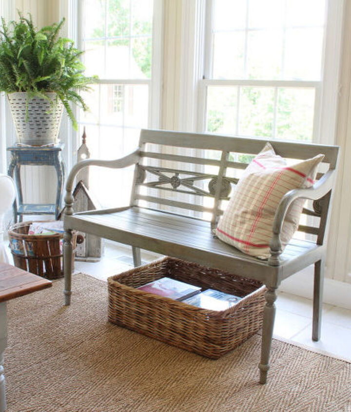 Brought this bench in from another area of the house. I painted it in this blue gray color.
