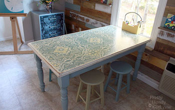 dumpster table gets a stencil and chalk paint makeover, chalk paint, painted furniture, Final table