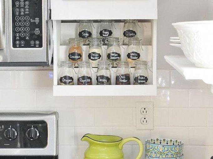 diy under the cabinet spice rack, kitchen cabinets, kitchen design, storage ideas