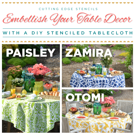 embellish your table decor with a diy stenciled tablecloth, crafts, painting